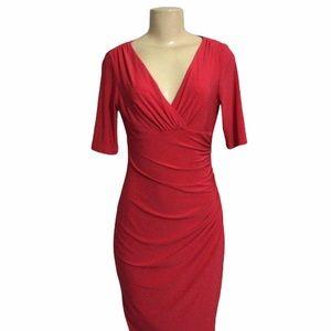 Red  Ruche V Neck Mid Dress